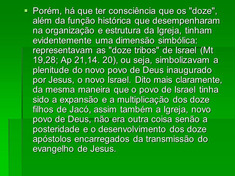 Porém, há que ter consciência que os doze , além da função histórica que desempenharam na organização e estrutura da Igreja, tinham evidentemente uma dimensão simbólica: representavam as doze tribos de Israel (Mt 19,28; Ap 21,14.
