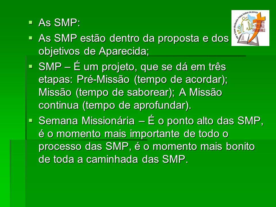 As SMP: As SMP estão dentro da proposta e dos objetivos de Aparecida;