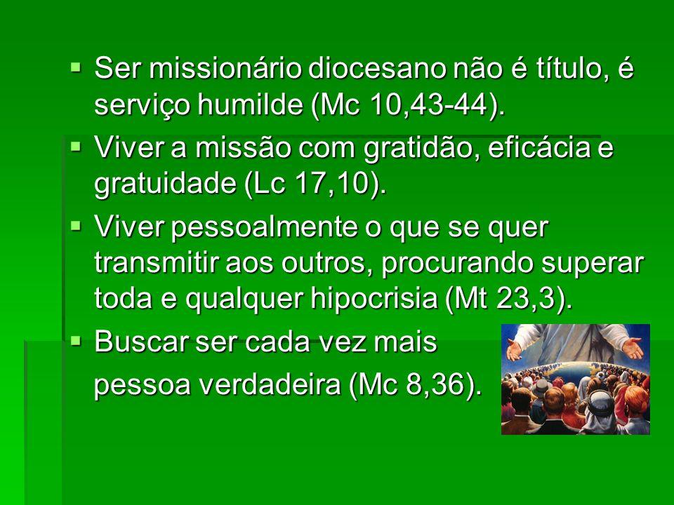 Ser missionário diocesano não é título, é serviço humilde (Mc 10,43-44).