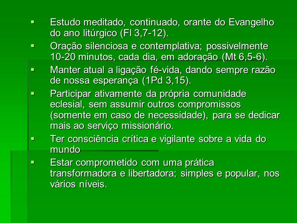 Estudo meditado, continuado, orante do Evangelho do ano litúrgico (Fl 3,7-12).