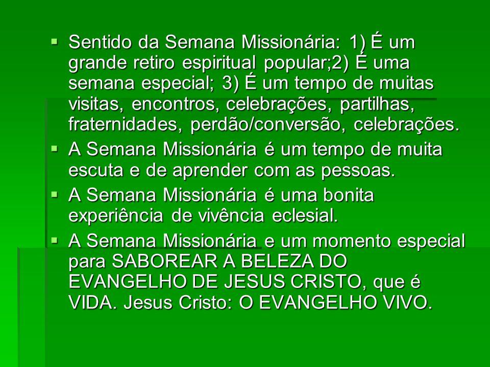 Sentido da Semana Missionária: 1) É um grande retiro espiritual popular;2) É uma semana especial; 3) É um tempo de muitas visitas, encontros, celebrações, partilhas, fraternidades, perdão/conversão, celebrações.
