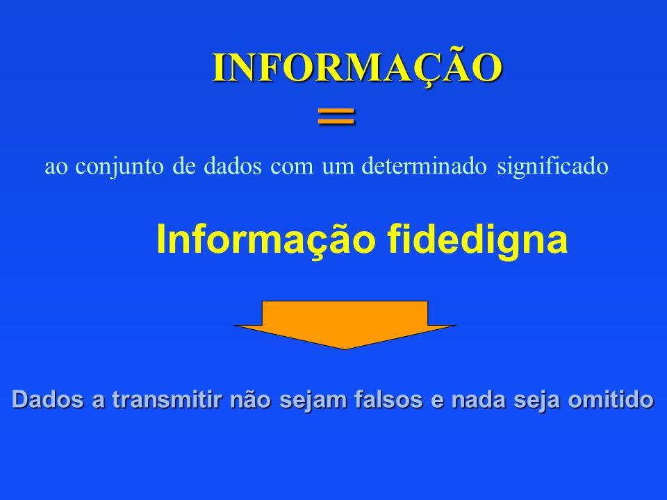 = INFORMAÇÃO Informação fidedigna