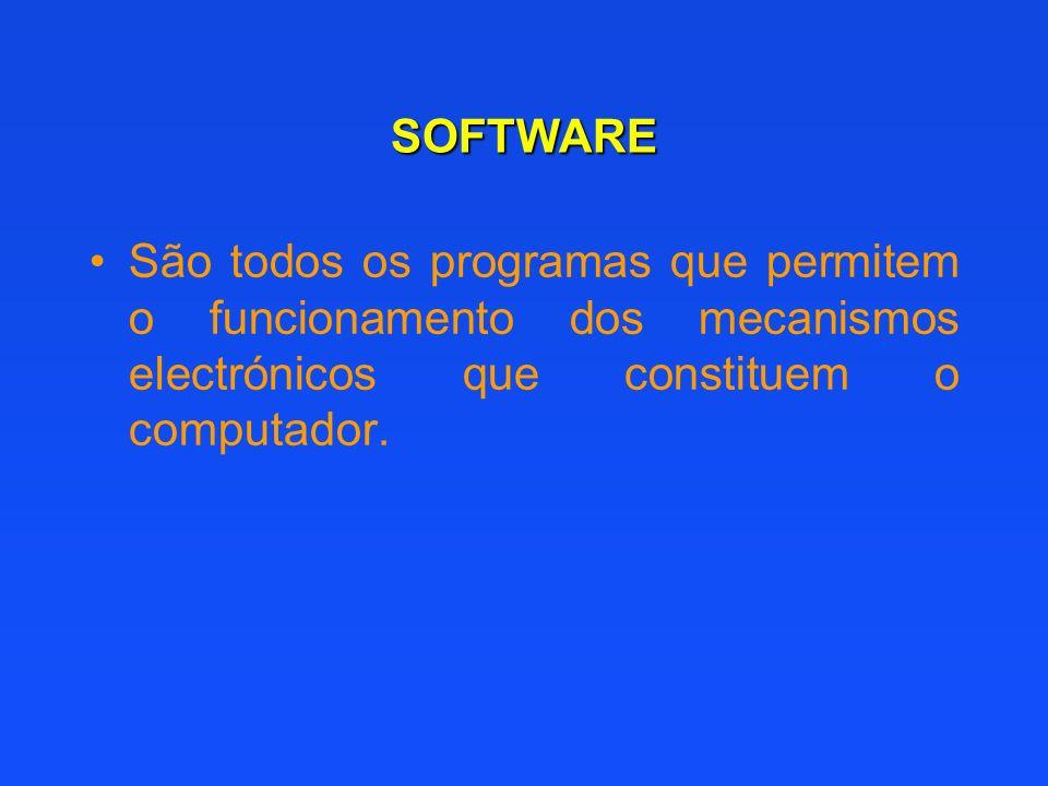 SOFTWARE São todos os programas que permitem o funcionamento dos mecanismos electrónicos que constituem o computador.