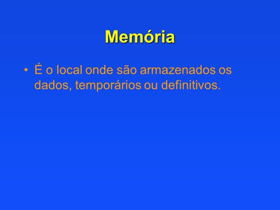 Memória É o local onde são armazenados os dados, temporários ou definitivos.