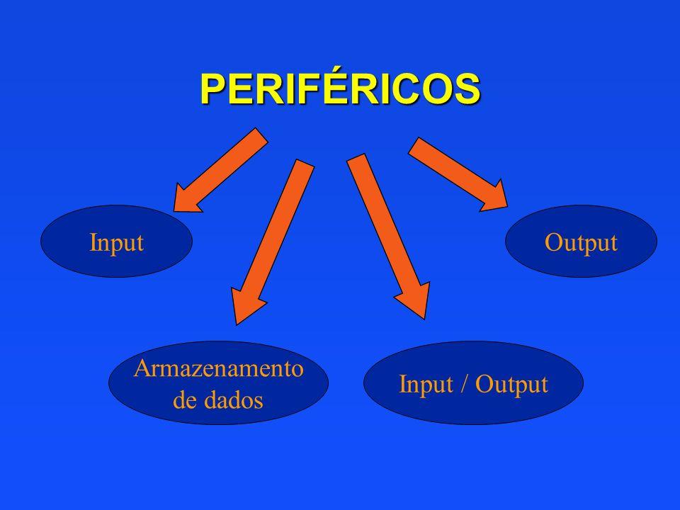PERIFÉRICOS Input Output Armazenamento de dados Input / Output