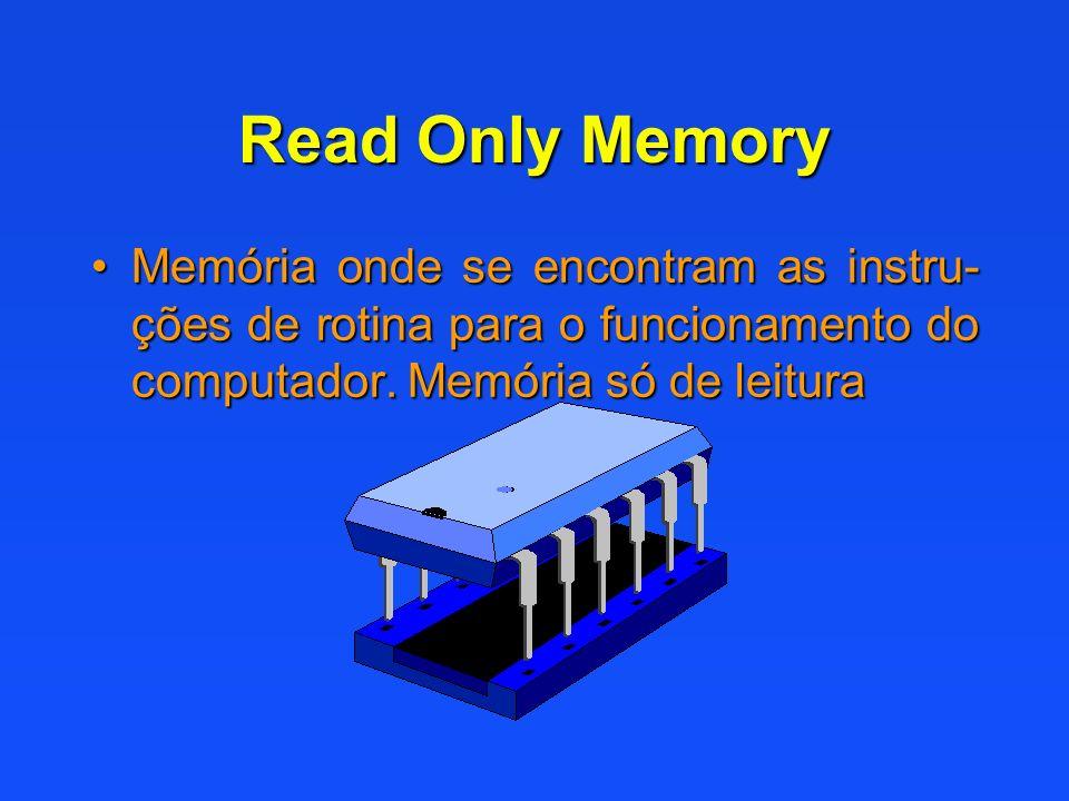 Read Only Memory Memória onde se encontram as instru-ções de rotina para o funcionamento do computador.