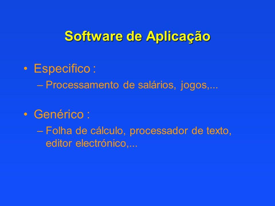 Software de Aplicação Especifico : Genérico :