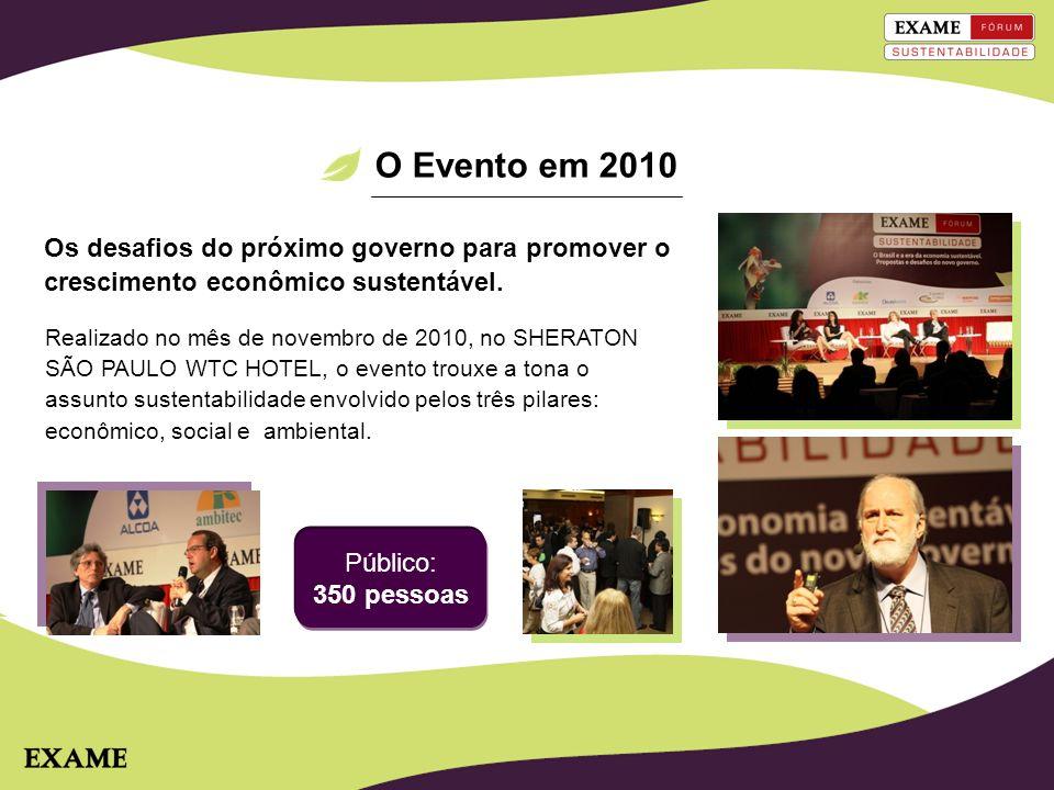 O Evento em 2010 Os desafios do próximo governo para promover o crescimento econômico sustentável.