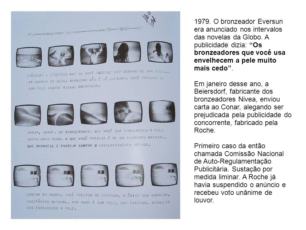 1979. O bronzeador Eversun era anunciado nos intervalos das novelas da Globo. A publicidade dizia: Os bronzeadores que você usa envelhecem a pele muito mais cedo .