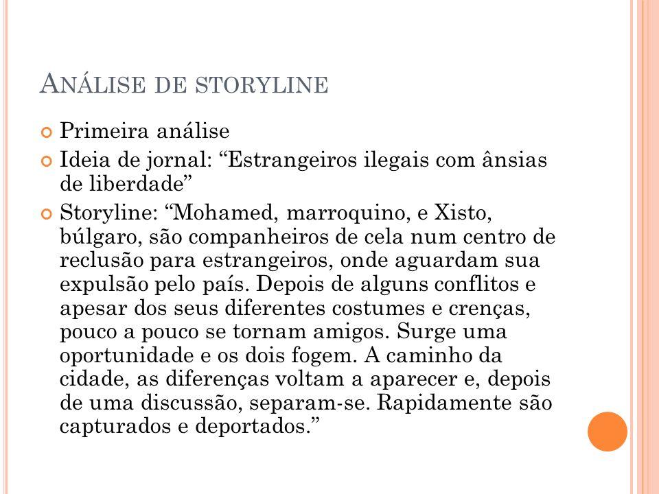Análise de storyline Primeira análise