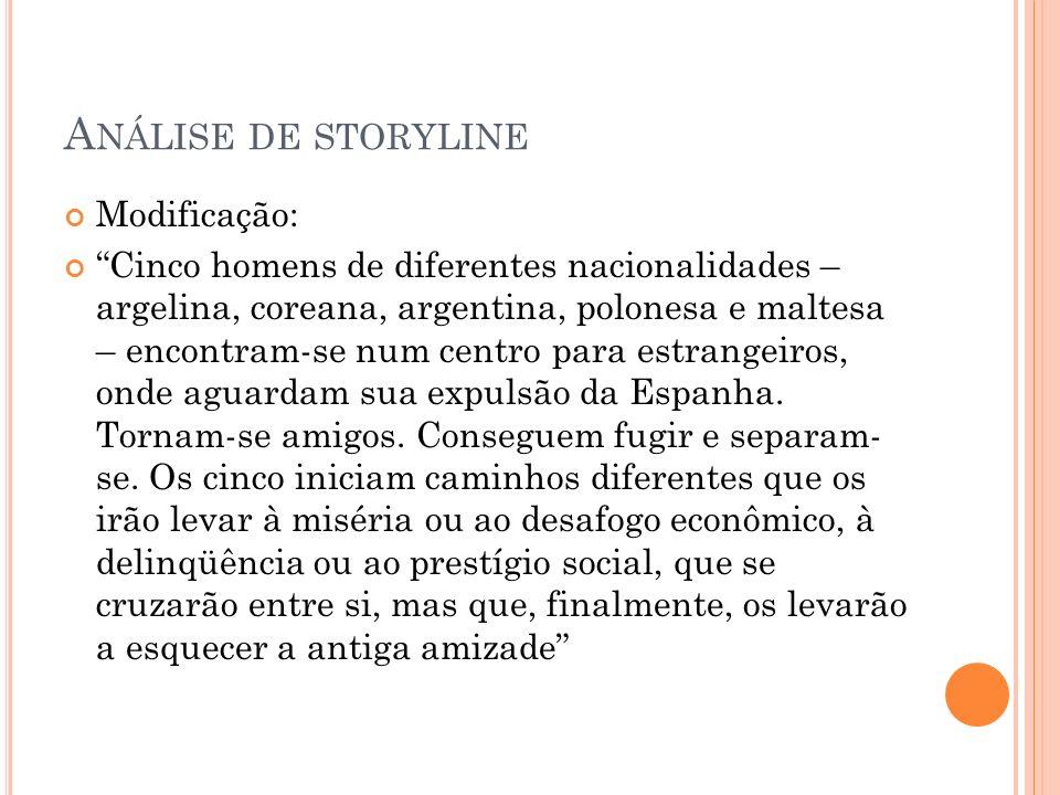 Análise de storyline Modificação: