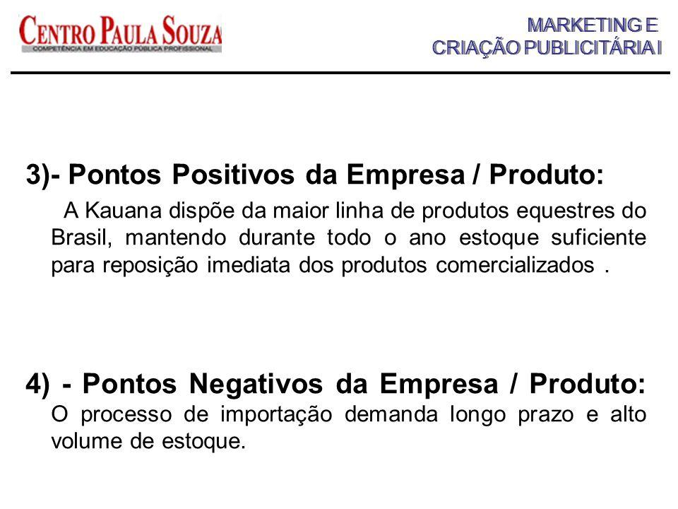 3)- Pontos Positivos da Empresa / Produto:
