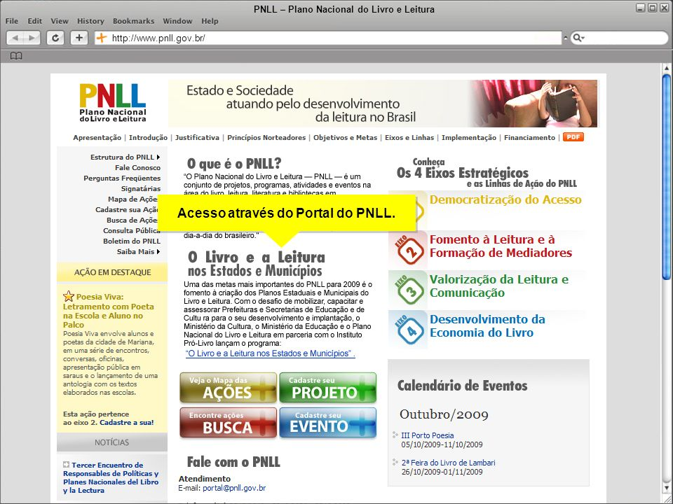 Acesso através do Portal do PNLL.