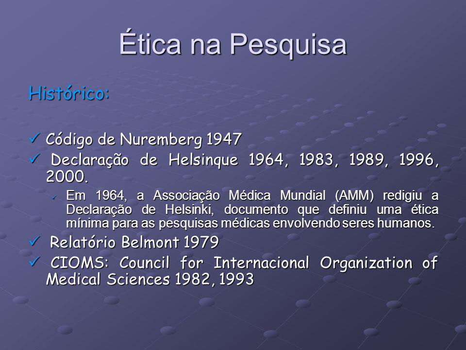 Ética na Pesquisa Histórico: Código de Nuremberg 1947