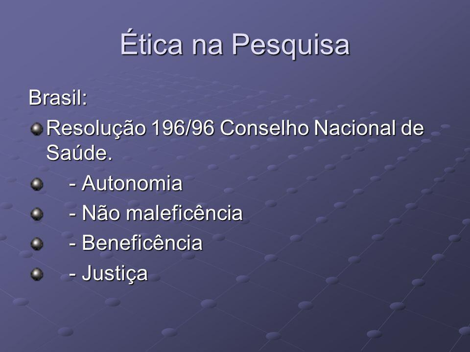 Ética na Pesquisa Brasil: Resolução 196/96 Conselho Nacional de Saúde.