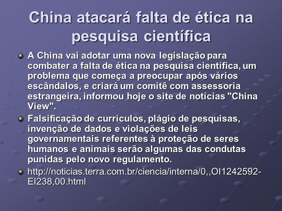 China atacará falta de ética na pesquisa científica