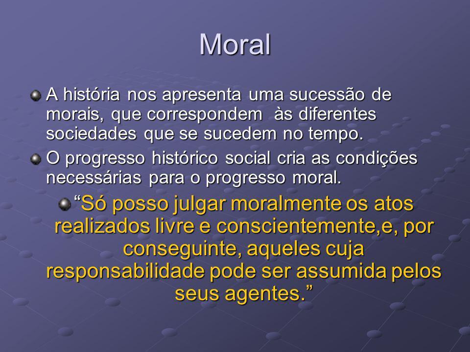 Moral A história nos apresenta uma sucessão de morais, que correspondem às diferentes sociedades que se sucedem no tempo.
