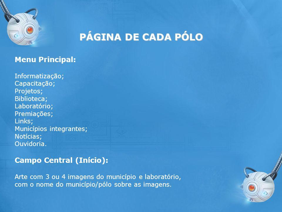 PÁGINA DE CADA PÓLO Menu Principal: Campo Central (Início):
