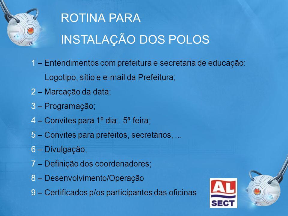 ROTINA PARA INSTALAÇÃO DOS POLOS