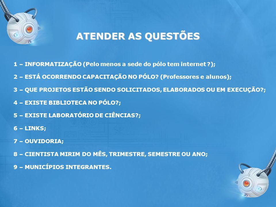 ATENDER AS QUESTÕES 1 – INFORMATIZAÇÃO (Pelo menos a sede do pólo tem internet ); 2 – ESTÁ OCORRENDO CAPACITAÇÃO NO PÓLO (Professores e alunos);