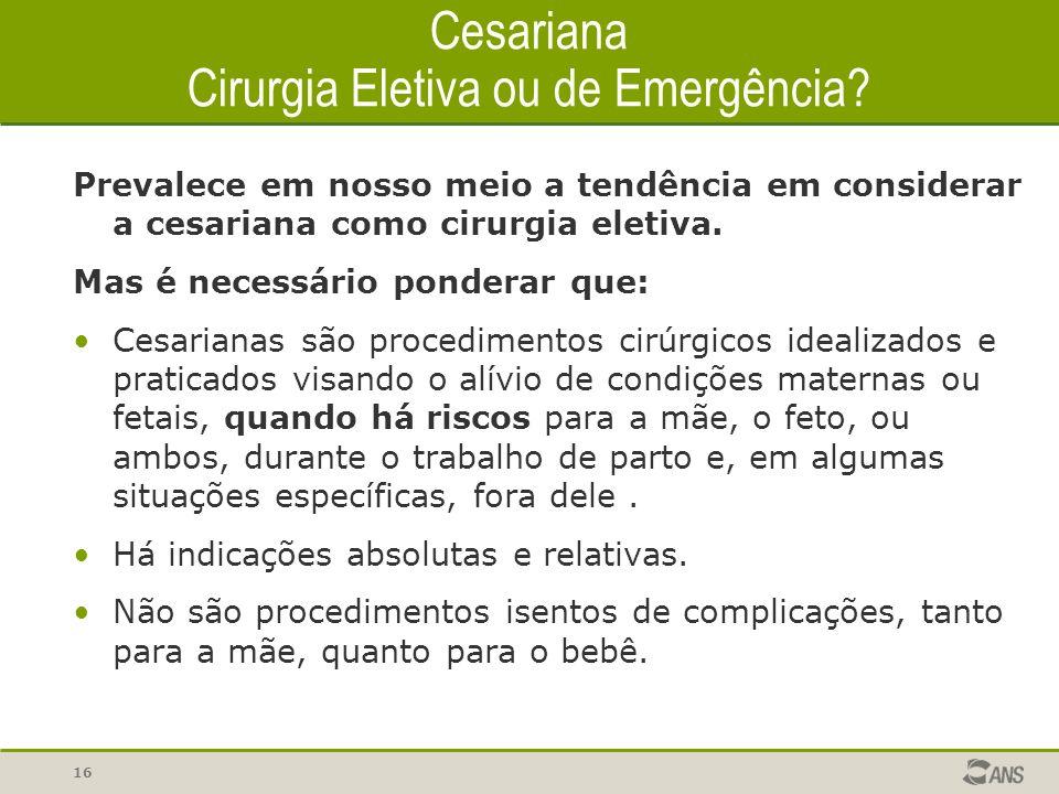 Cesariana Cirurgia Eletiva ou de Emergência