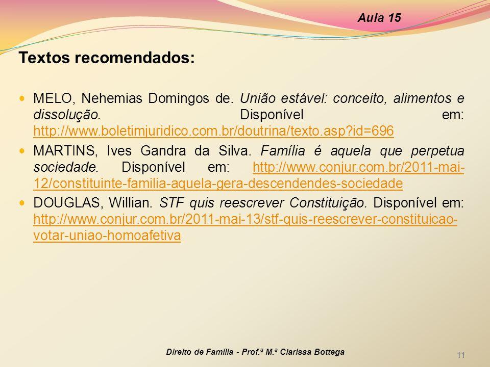 Aula 15 Textos recomendados: