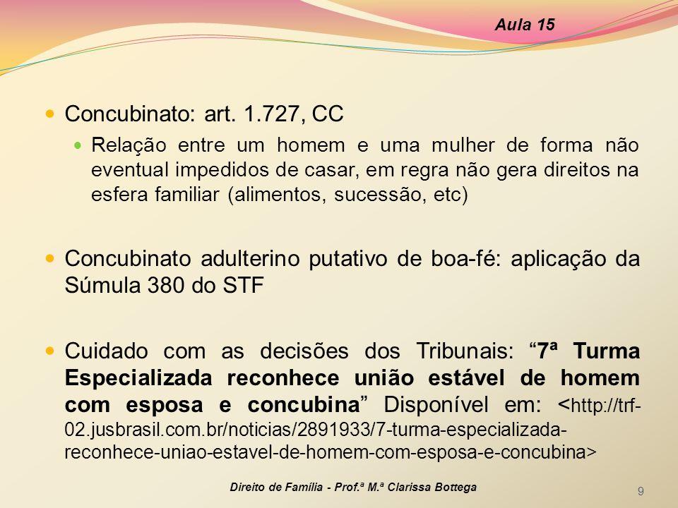 Aula 15 Concubinato: art. 1.727, CC.