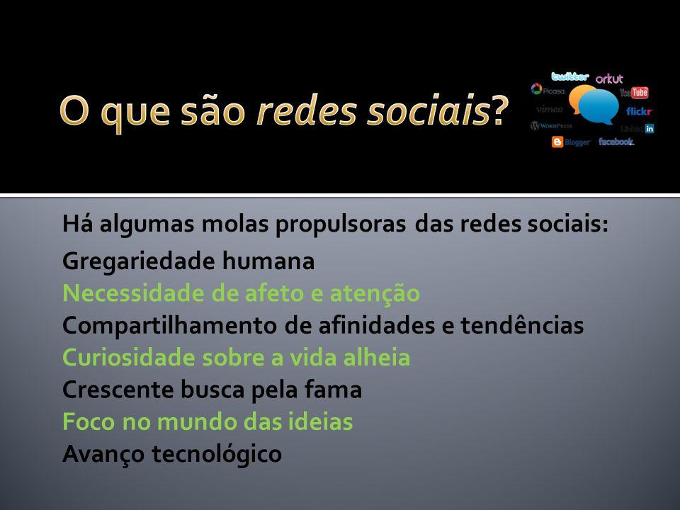 O que são redes sociais Há algumas molas propulsoras das redes sociais: Gregariedade humana. Necessidade de afeto e atenção.