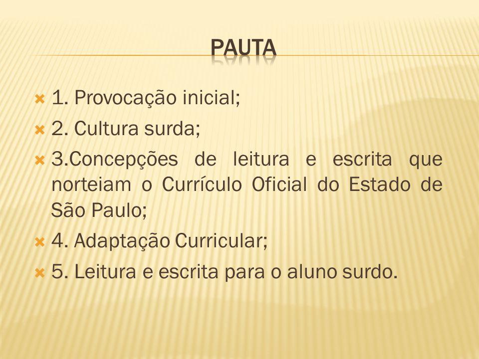 Pauta 1. Provocação inicial; 2. Cultura surda;