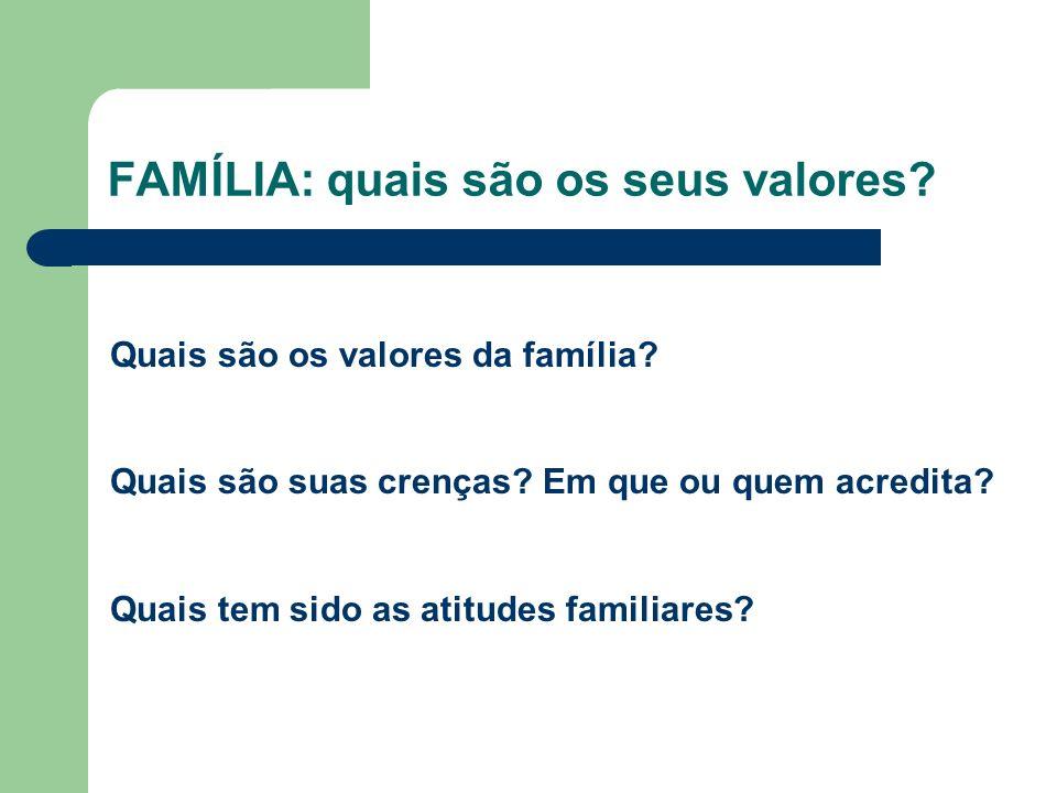 FAMÍLIA: quais são os seus valores