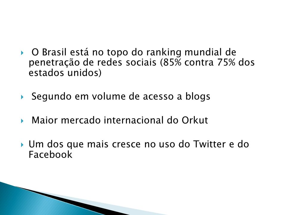 O Brasil está no topo do ranking mundial de penetração de redes sociais (85% contra 75% dos estados unidos)