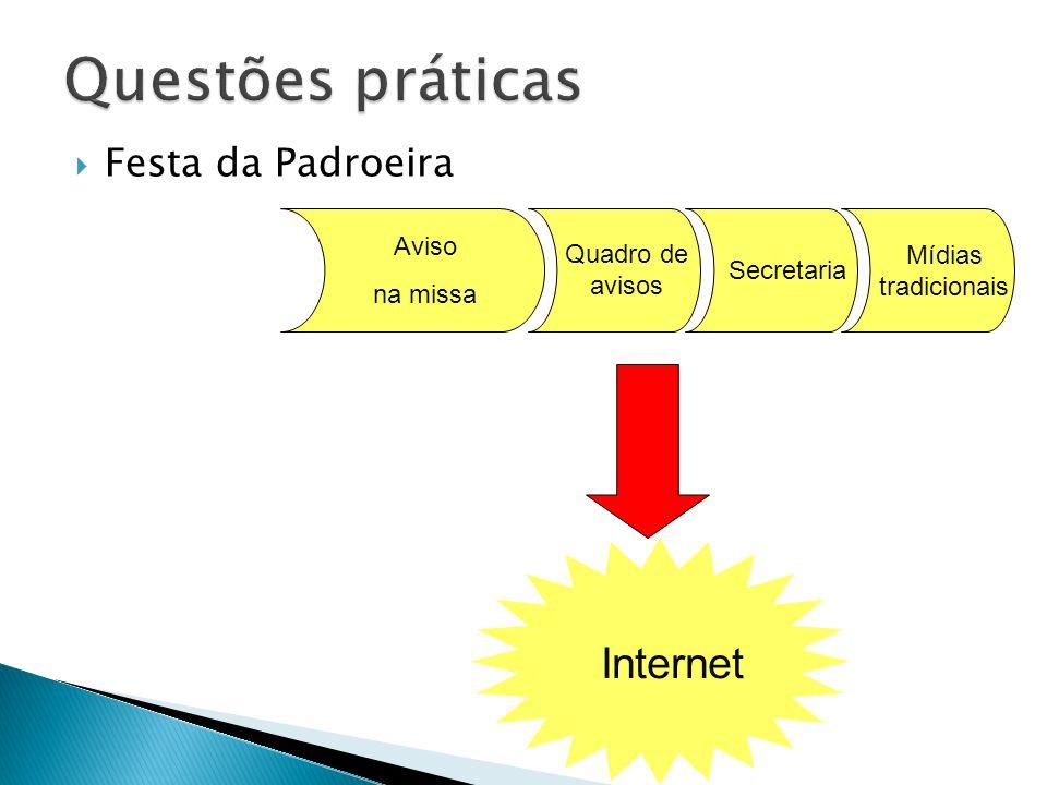 Questões práticas Internet Festa da Padroeira Aviso Quadro de avisos