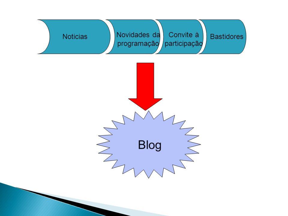 Blog Novidades da programação Convite à participação Noticias