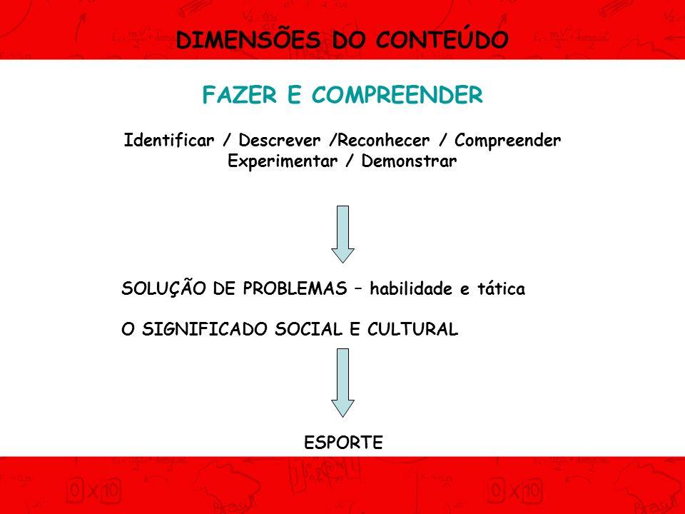 DIMENSÕES DO CONTEÚDO FAZER E COMPREENDER