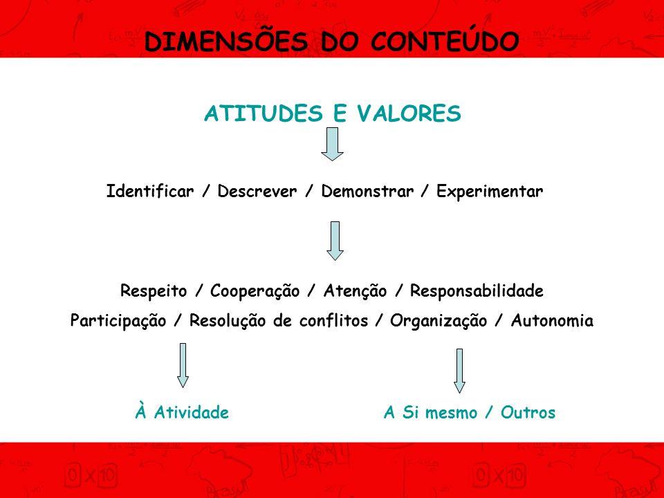 DIMENSÕES DO CONTEÚDO ATITUDES E VALORES