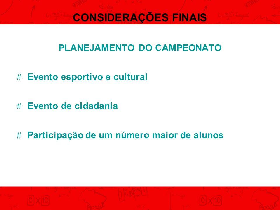 PLANEJAMENTO DO CAMPEONATO
