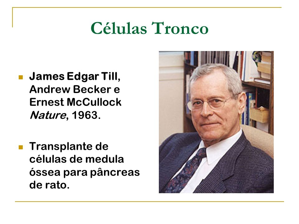 Células Tronco James Edgar Till, Andrew Becker e Ernest McCullock Nature, 1963.