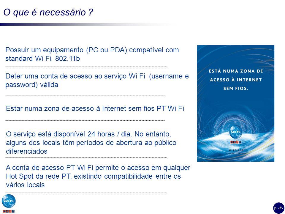 O que é necessário Possuir um equipamento (PC ou PDA) compatível com standard Wi Fi 802.11b.