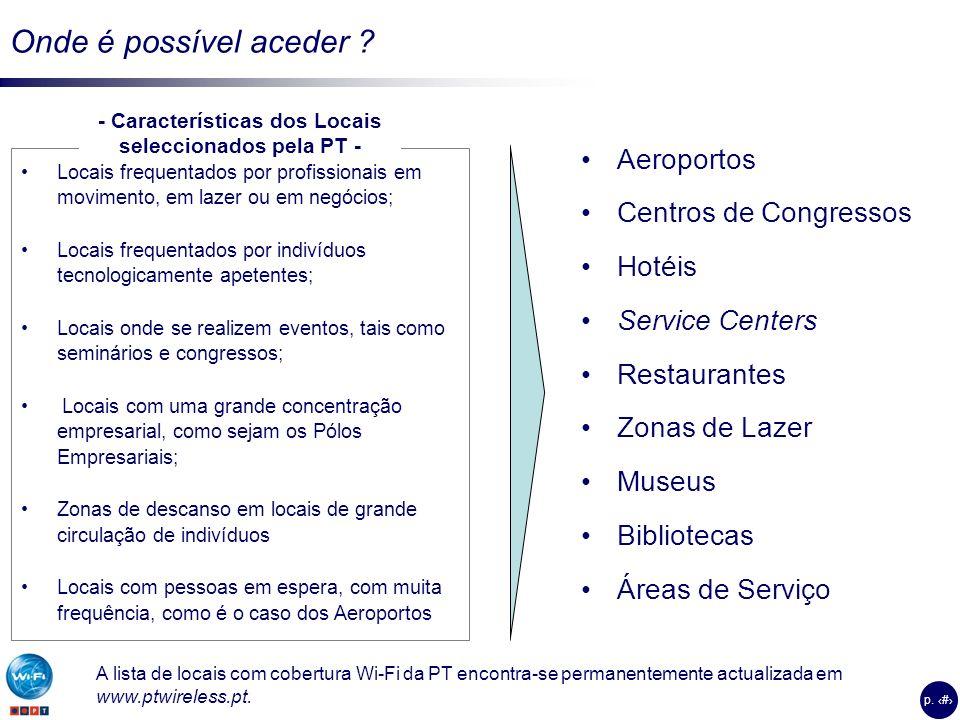 - Características dos Locais seleccionados pela PT -