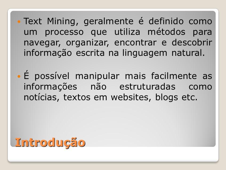 Text Mining, geralmente é definido como um processo que utiliza métodos para navegar, organizar, encontrar e descobrir informação escrita na linguagem natural.