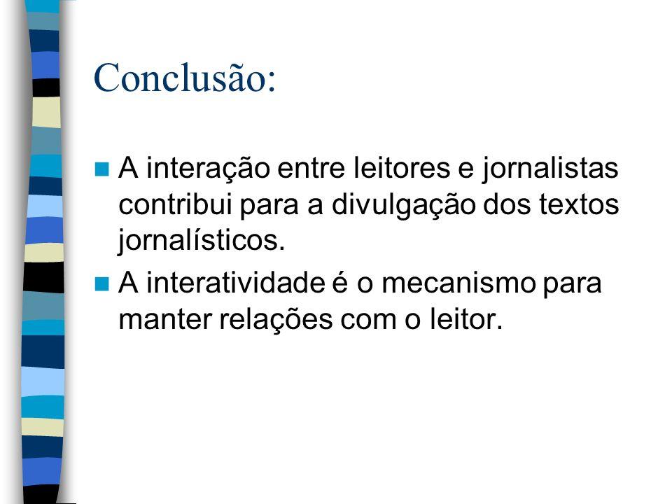 Conclusão: A interação entre leitores e jornalistas contribui para a divulgação dos textos jornalísticos.