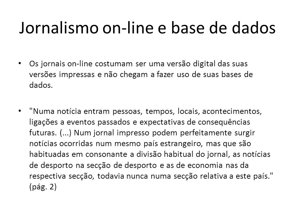 Jornalismo on-line e base de dados