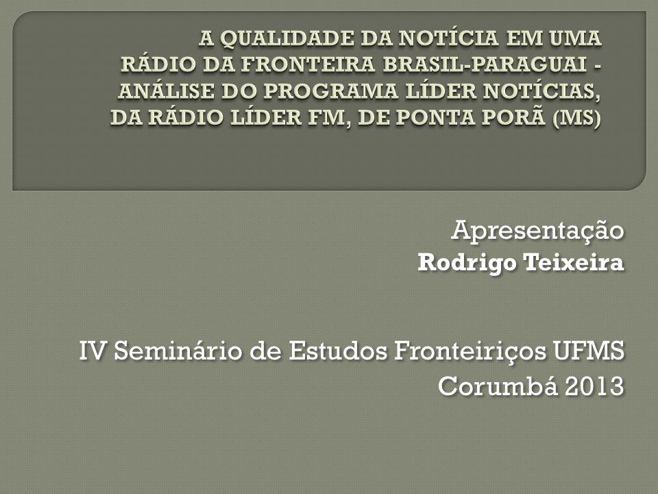 IV Seminário de Estudos Fronteiriços UFMS Corumbá 2013