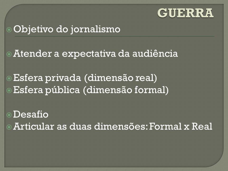GUERRA Objetivo do jornalismo Atender a expectativa da audiência