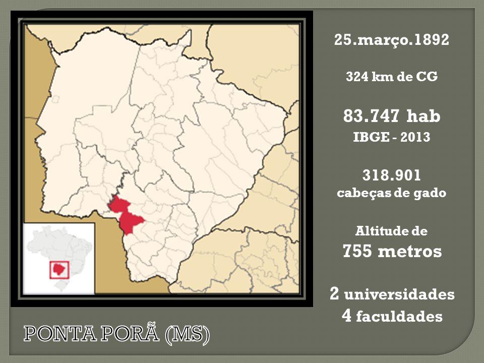 PONTA PORÃ (MS) 83.747 hab 755 metros 2 universidades 4 faculdades