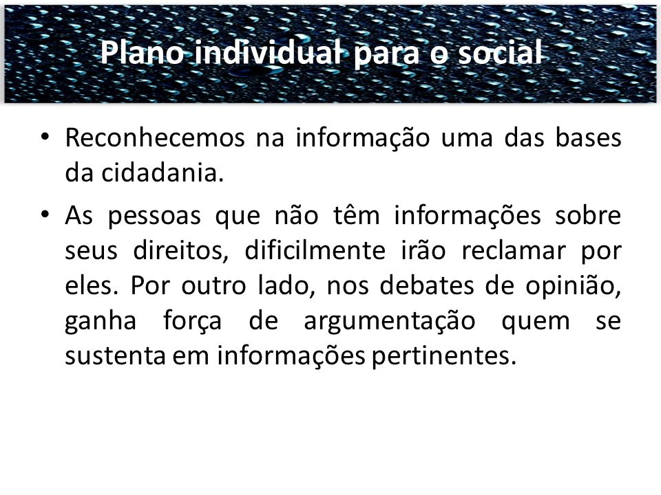 Plano individual para o social