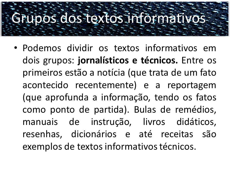 Grupos dos textos informativos