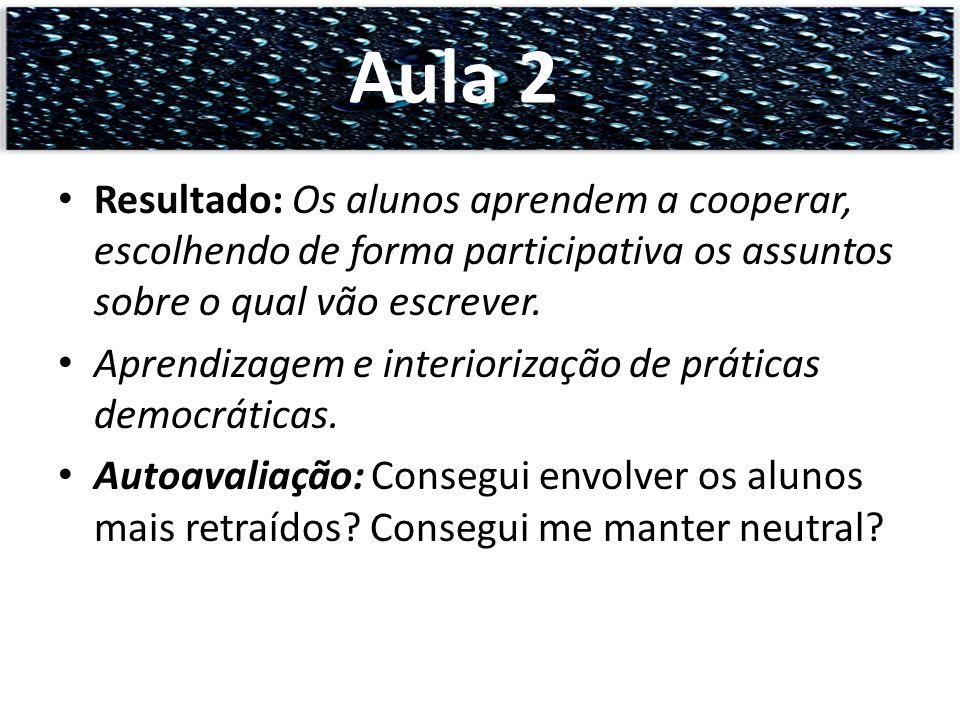 Aula 2 Resultado: Os alunos aprendem a cooperar, escolhendo de forma participativa os assuntos sobre o qual vão escrever.