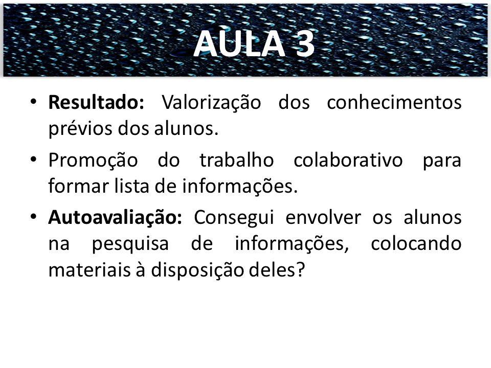 AULA 3 Resultado: Valorização dos conhecimentos prévios dos alunos.