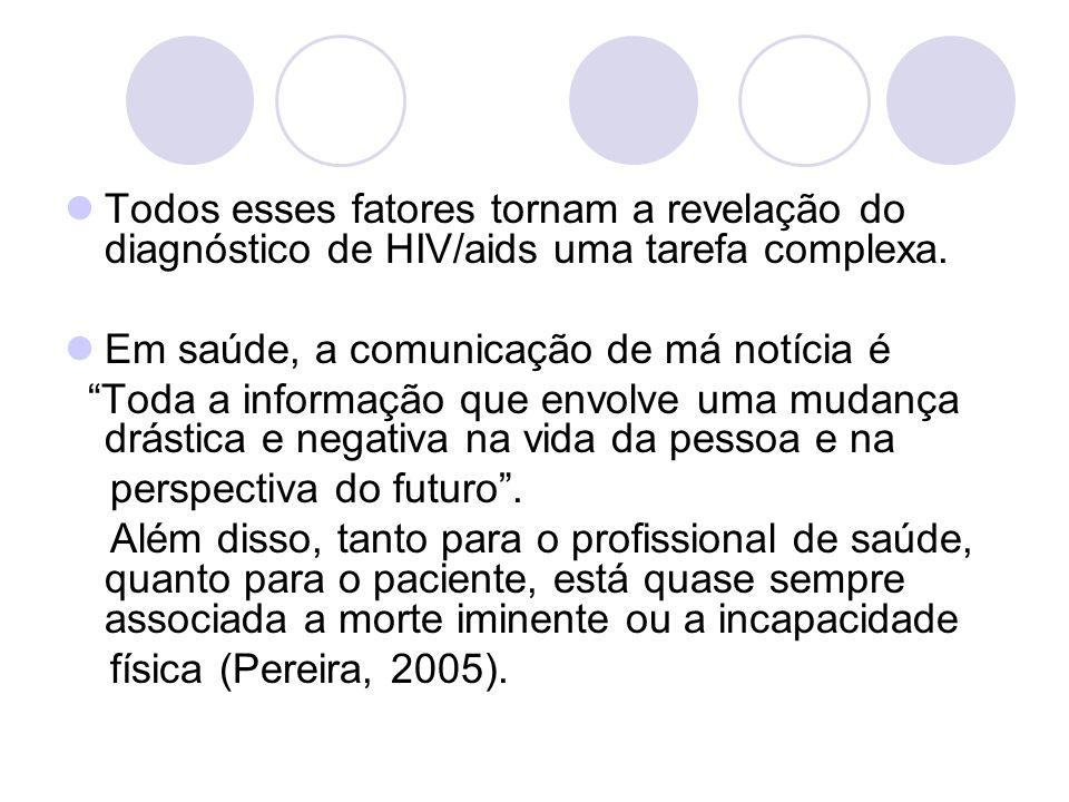 Todos esses fatores tornam a revelação do diagnóstico de HIV/aids uma tarefa complexa.